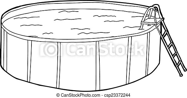 Eps Vector Of Above Ground Pool Outline Outline Cartoon