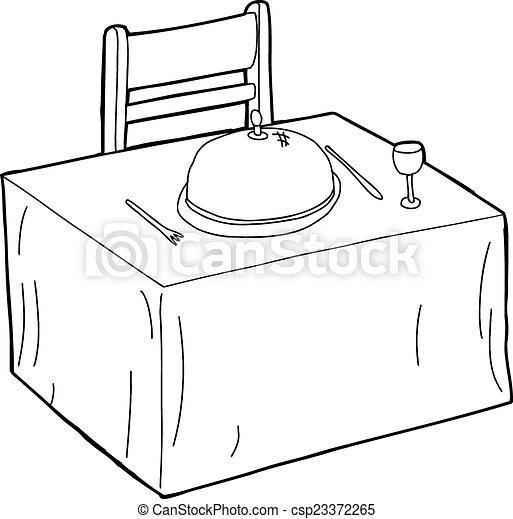 Stuhl gezeichnet  Clip Art Vektor von tisch, stuhl, grobdarstellung - Hand ...
