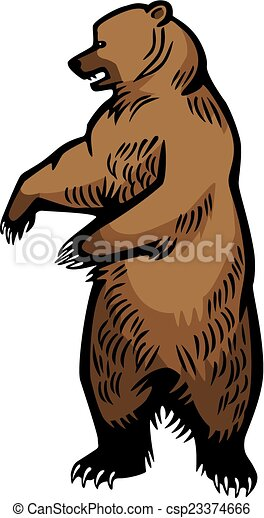 Clip Art Vector of Grizzly Bear Standing Up - vector ...
