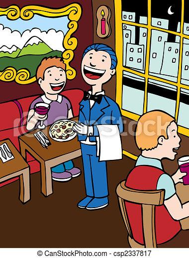 vectors illustration of restaurant cartoon   waiter and