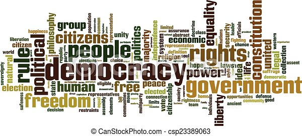 palabra, democracia, nube - csp23389063