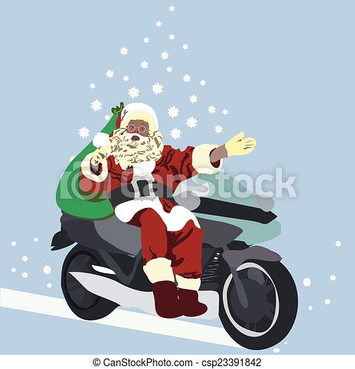 Vector Illustration of Santa on a motorcycle driven by Christmas ...