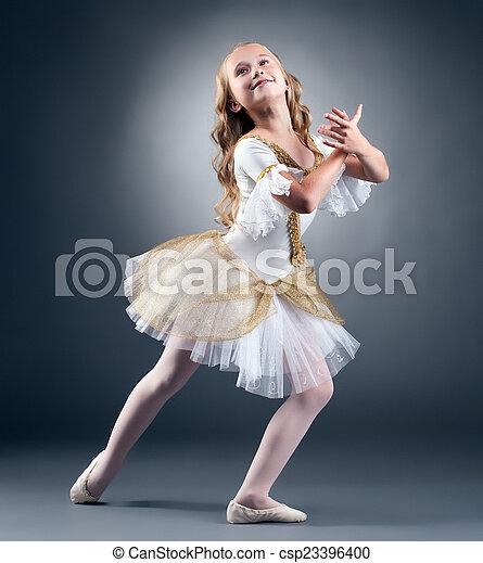 Studio shot of graceful little ballet dancer