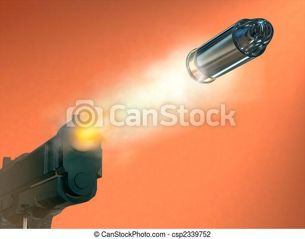 発砲, 銃 - csp2339752 ピストル, 発砲, bullett, デジタル, イラスト