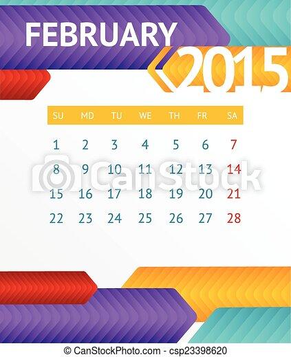 カレンダー 2015 カレンダー 2月 : ベクトル, 2015, カレンダー, 2 月 ...