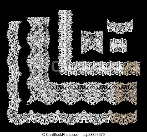 Frame Elements Set - different lace edges and borders - Seamless