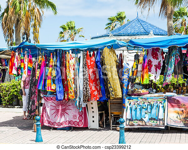 Stock Photography of Colorful Garments in Tropical Flea ...