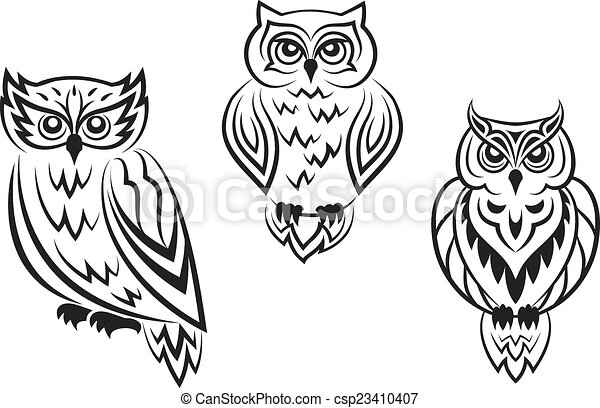 clipart vecteur de noir et blanc hibou oiseau tatoos dans silhouetted csp23410407. Black Bedroom Furniture Sets. Home Design Ideas