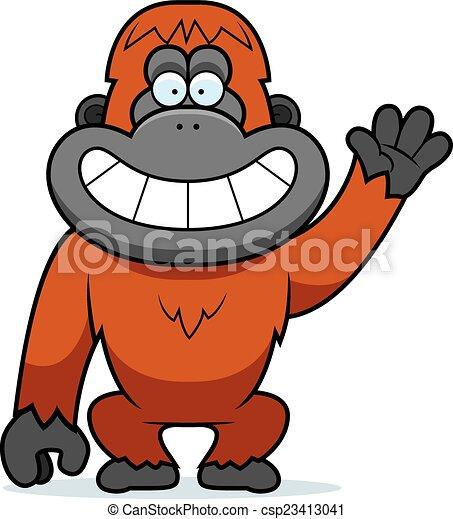 eps vector of cartoon orangutan waving a cartoon orangutan clipart free orangutan clipart