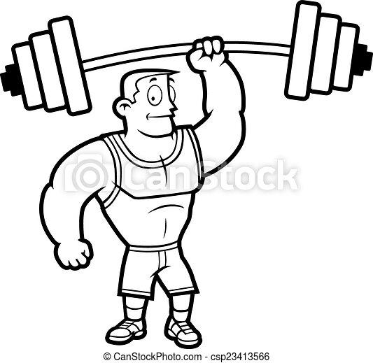 Clip Art Vector of Lifting Weights - A cartoon strong man lifting ...