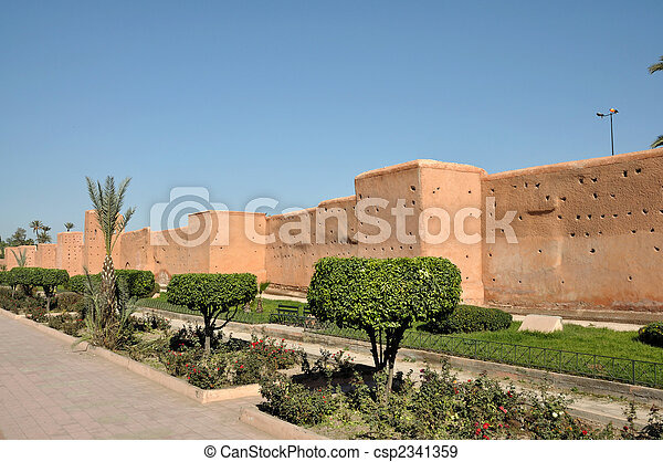 Old city wall in Marrakech, Morocco - csp2341359