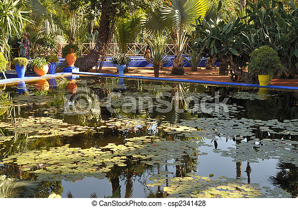 Lily pond at the Jardin Majorelle in Marrakech, Morocco - csp2341428