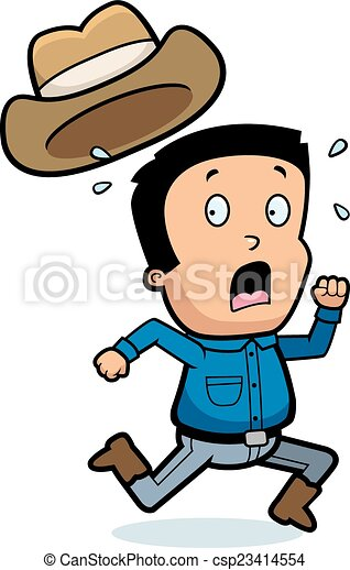 Clipart Vector Of Cartoon Scared Cowboy