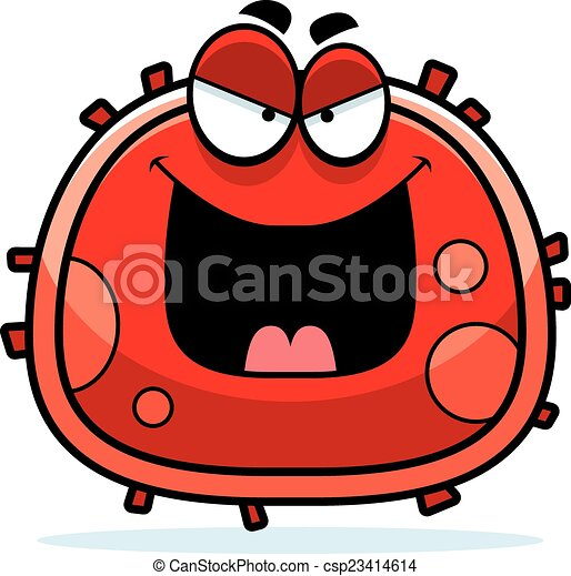 Vector Clip Art of Evil Red Blood Cell - A cartoon illustration of ...