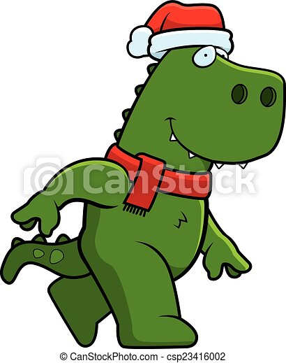 Vector Clipart of Cartoon Christmas Dinosaur - A cartoon ...