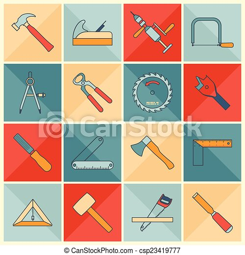 Vectors Illustration of Carpentry tools flat line icons ...