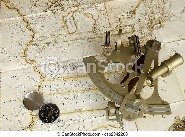 Map, sextant and compass - csp2342208