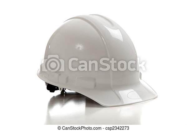 White construction workers hard hat on white - csp2342273