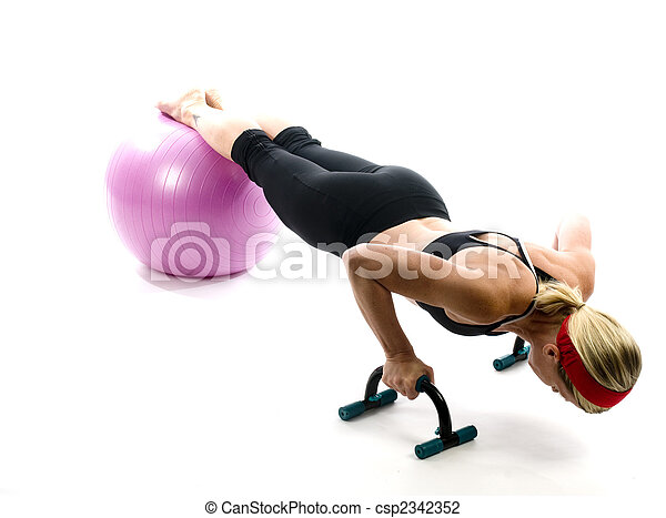 illustration of push ups on fitness core training ball with push up bars by attractive middle age fitness trainer teacher woman exercising and stretching - csp2342352
