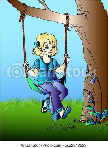 girl on swings - csp2342523