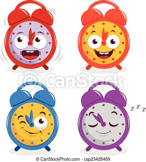 Vector of Happy cartoon alarm clocks - A set of four happy alarm ...
