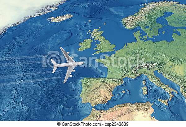 White Civil Airplane over the Atlantic ocean flying to Europe - csp2343839