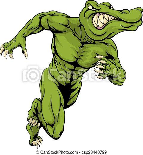 Alligator or crocodile mascot running - csp23440799