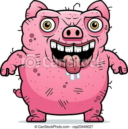 Illustration vecteur de debout laid cochon a dessin - Dessin cochon debout ...