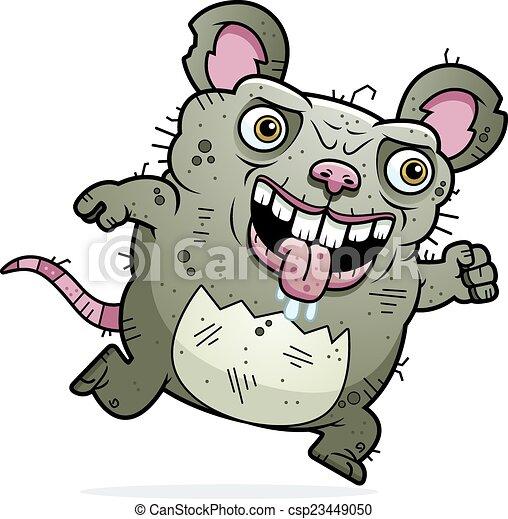 Clipart Vector Of Ugly Rat Running A Cartoon