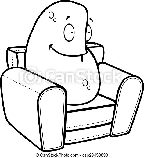 Couch Drawing vectors of couch potato - a happy cartoon couch potato sitting and