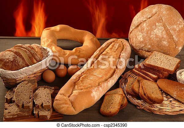 Bread still life with varied shapes and bakery fire - csp2345390