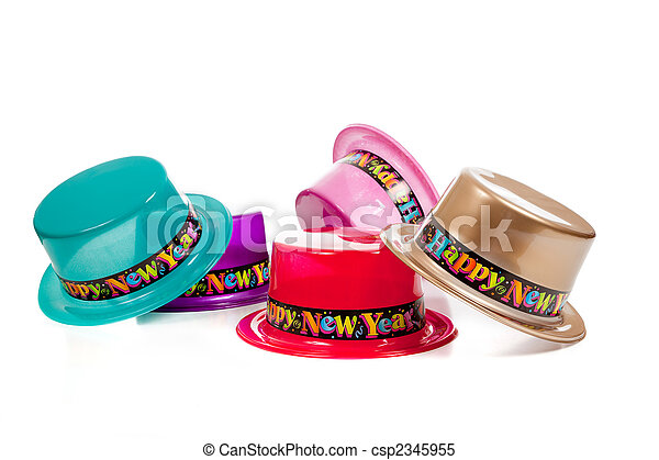 Group of decorative New Years Eve Hats - csp2345955
