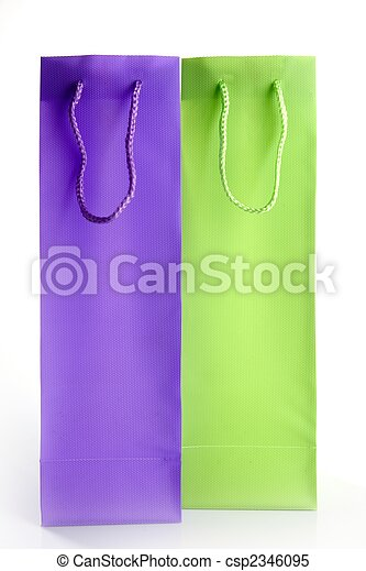 two tall shopping bangs, purple and green - csp2346095