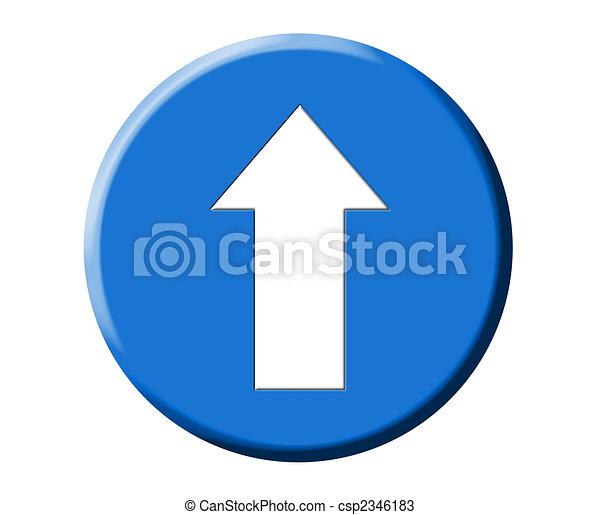 European round blue road arrow signal illustration - csp2346183