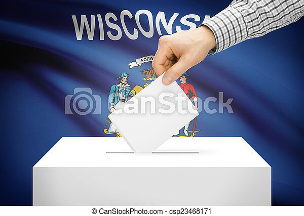 Voting concept - Ballot box with national flag on background - Wisconsin - csp23468171