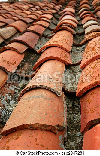 Aged old red clay arabic roof tiles - csp2347281