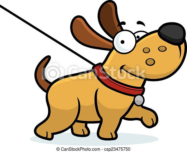 Clipart Vector Of Cartoon Dog Walk A Cartoon