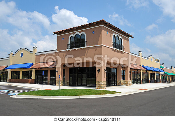 Stock Photography Of New Strip Mall Store Fronts In A
