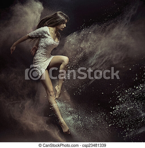 Jumping girl in full of dust place - csp23481339