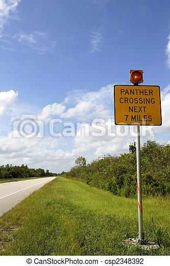 Signal about panther crossing road, Everglades - csp2348392
