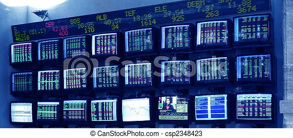 stock market multiple screen with reports - csp2348423