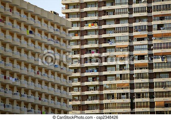 viejo, condominio, fachadas, textura, españa - csp2348426