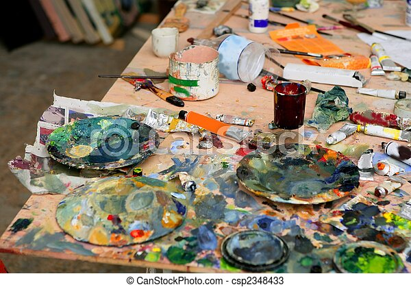 Artist studio painted dirty table