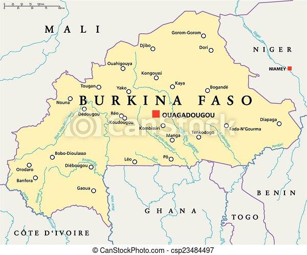 Burkina Faso Political Map - csp23484497