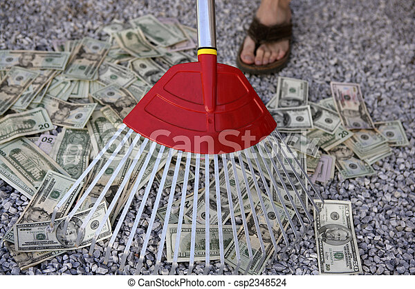 Cleaning black dolar money with rake, metaphor - csp2348524