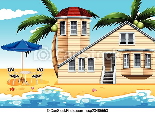 Clipart vector of a vacation house at the beach a for Beach house drawing