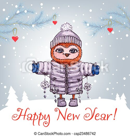 Happy New Year greeting card with cute owl in winter hat Vector Watercolor. - csp23486742
