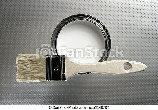 Painter brush and white paint tin - csp2348707