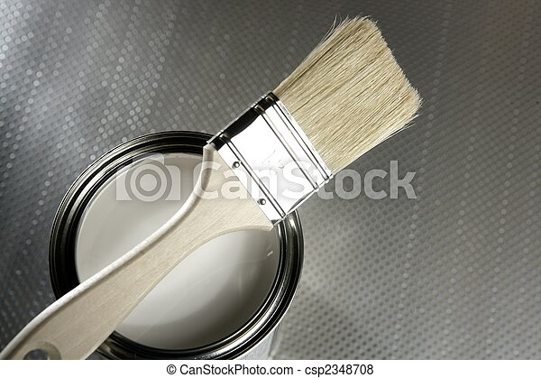 Painter brush and white paint tin - csp2348708