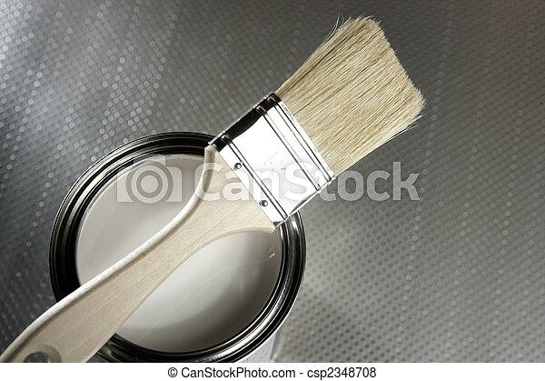 Painter brush and white paint tin - csp2348708